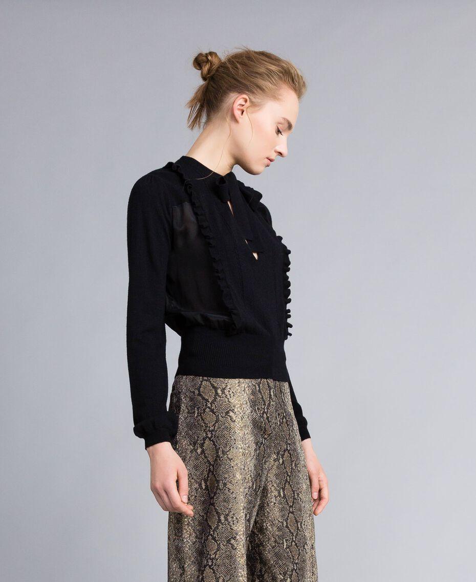 Pull en laine et cachemire Noir Femme PA83AN-02