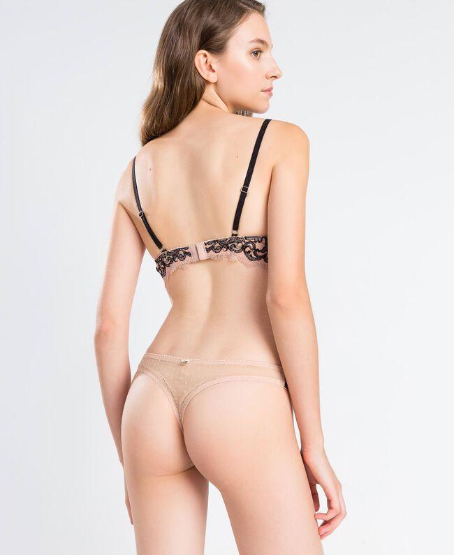 Soutien-gorge à armatures en dentelle bicolore (bonnets D) Bicolore Noir / Rose Ballerines Femme LA8C5D-03