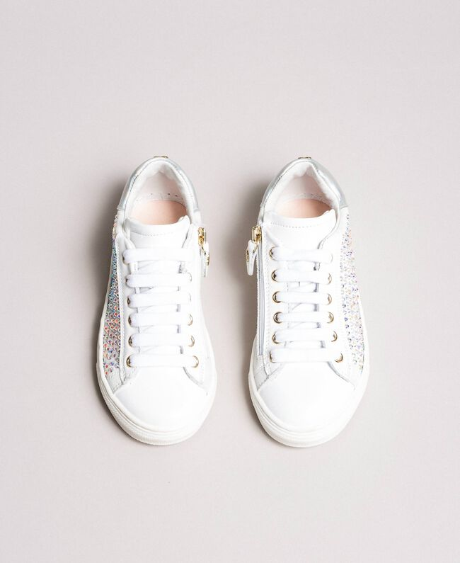 Rhinestone leather sneakers Pale Cream Child 191GCJ070-04