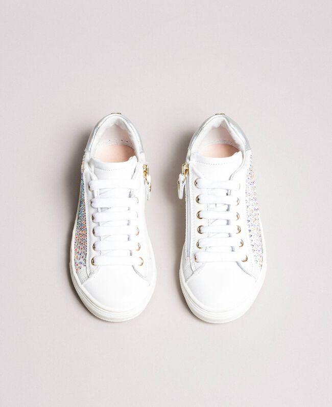 Leder-Sneakers mit Strass Chantily Kind 191GCJ070-04