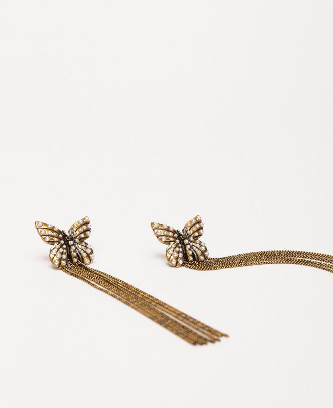 """Ohrringe mit Schmetterling und Anhängern """"Kupfriges Altmessing""""-Gold Frau 201TA4315-01"""