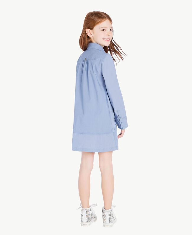 Kleid aus Popeline Unendlichkeits-Azur Kind GS82QR-04