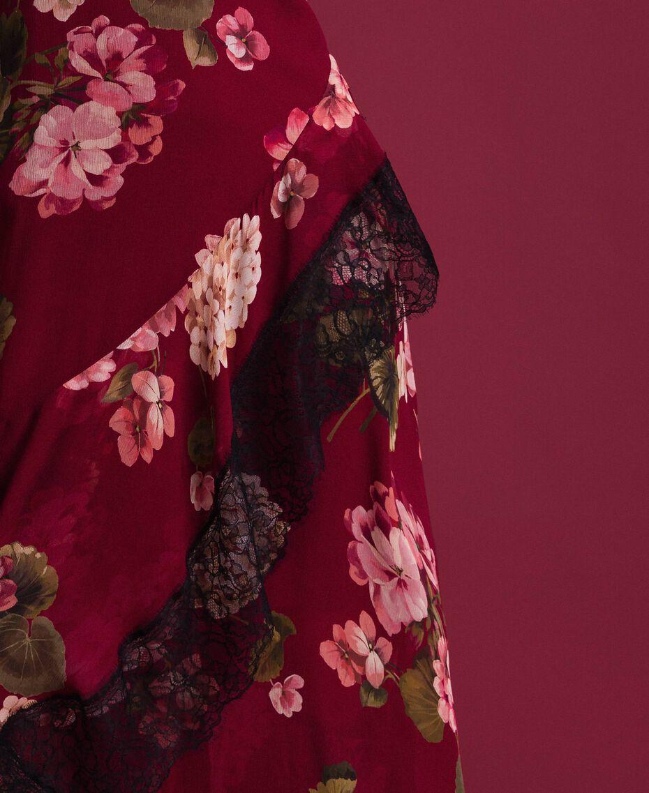 Robe nuisette en crépon avec imprimé floral Imprimé Rouge Betterave Géranium Femme 192TP2727-05