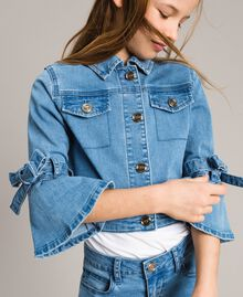 Denim jacket with bows Light Blue Denim Child 191GJ2610-04