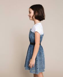 "Denim dress with gathering Two-tone ""Papers"" White / Medium Denim Child 201GJ2010-03"