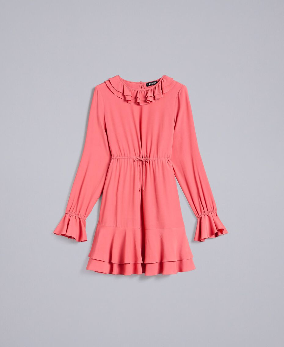 Short silk blend dress Royal Pink Pink Woman PA827A-0S