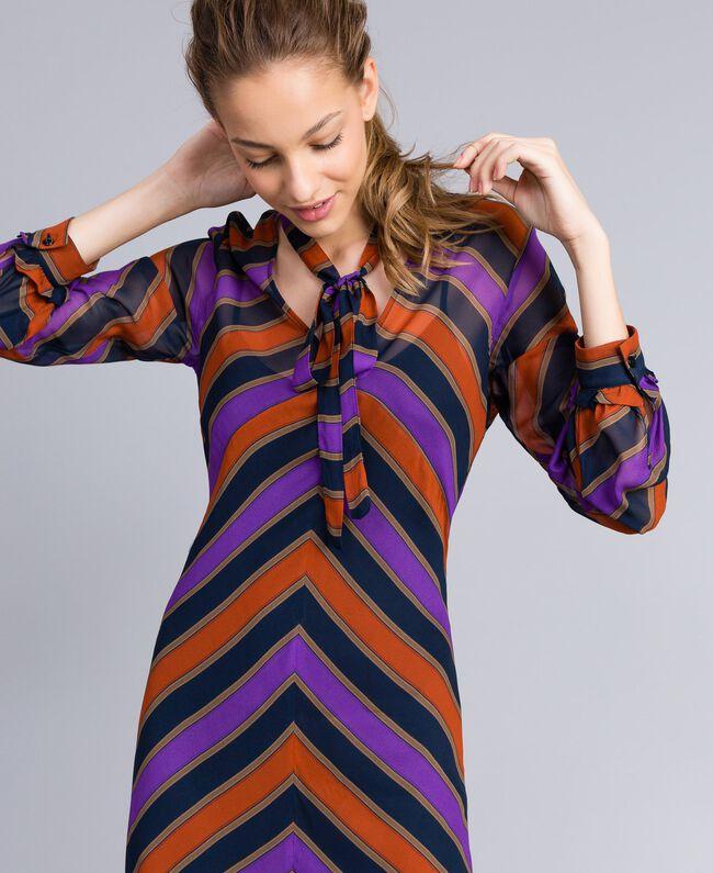 Long striped georgette dress Multicolour Stripe Print Woman TA8294-04