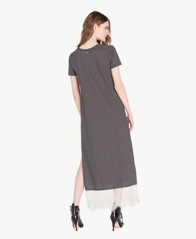 Langes Kleid mit Streifen Streifen Elfenbein / Schwarz Frau PS82H3-04