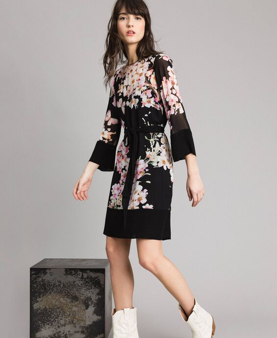 Floral print georgette tunic dress