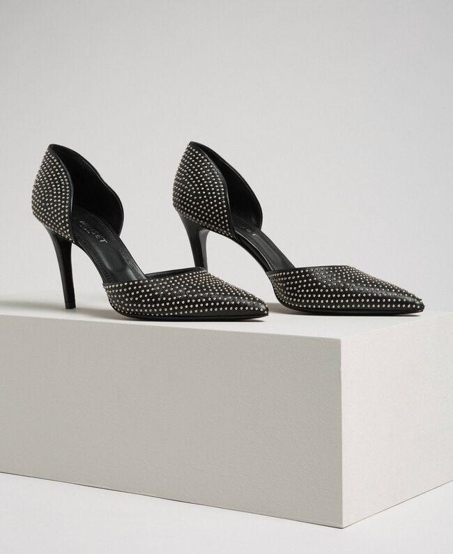 Escarpins en cuir avec clous all-over Noir Femme 192TCP152-01