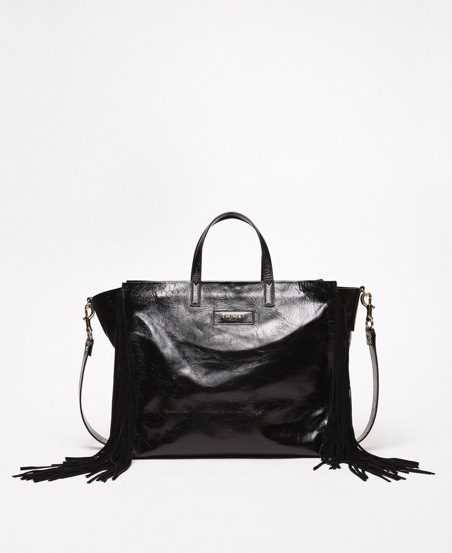 Large leather shopper with fringes Nougat Beige Woman 201TO8140-01