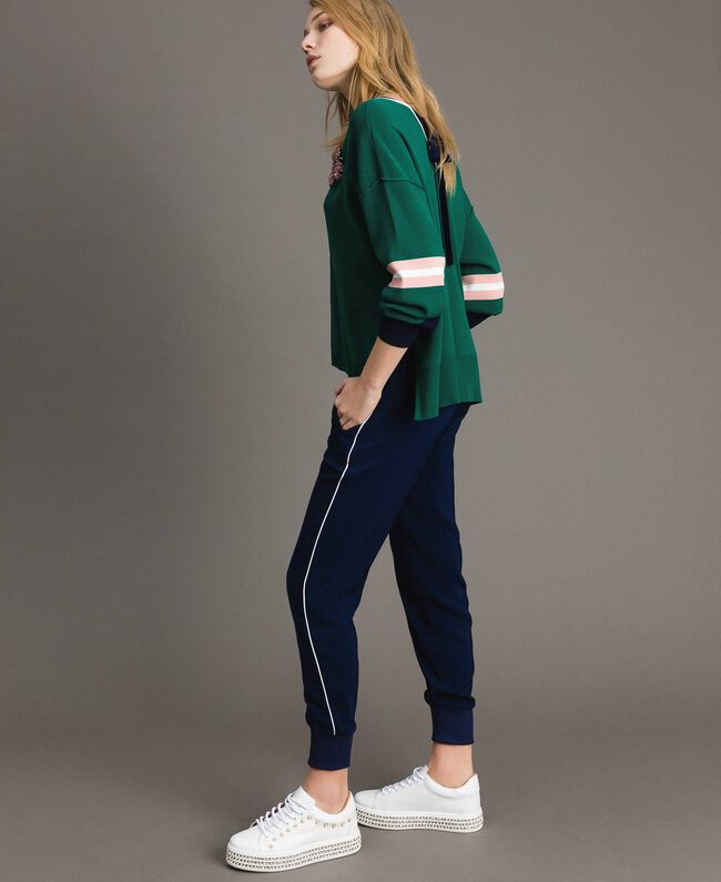 Pantalon de jogging en georgette Midnight Bleu Femme 191TP2326-01