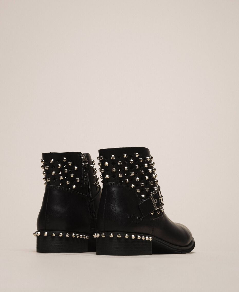 Biker boots with rhinestones and logo Black Woman 201MCP040-02