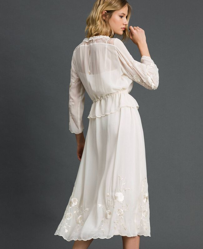 Georgette long dress with embroidery White Snow Woman 192TP2340-04