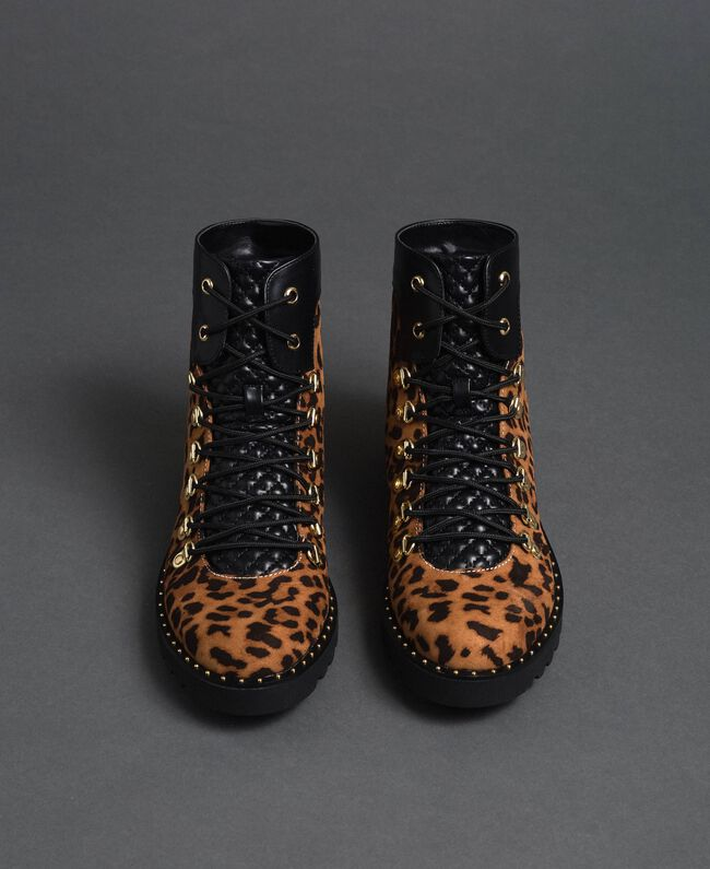 Animal print combat boots Animal Print Woman 192MCP09E-05