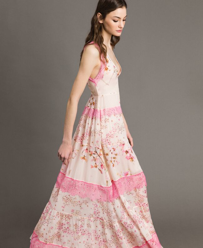 "Floral georgette long dress ""Blossom / Peach Mix"" Pink Print Woman 191TP2713-01"