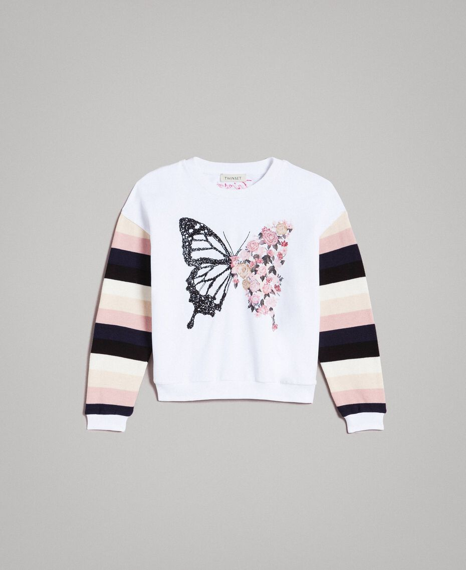 Cotton knitted striped sweatshirt Optical White / Multicolour Striping Child 191GJ2451-01