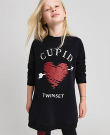 Maxi sweatshirt with heart and leggings Black / Tiny Heart Print Child 192GJ2550-01