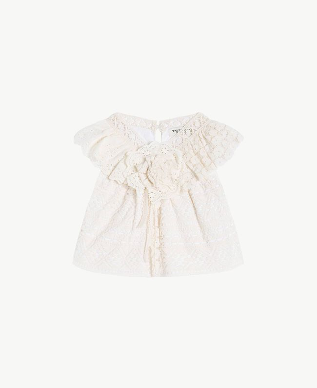"Lace top Two-tone ""Papyrus"" White / Chantilly Child FS82X1-01"