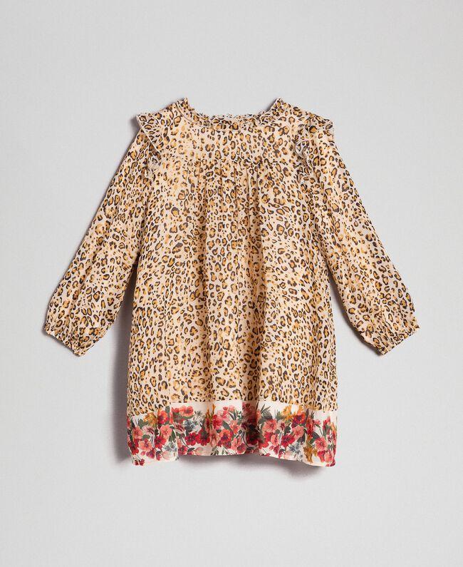 Kleid aus Georgette mit Animal-Print Print Leopard / Blumen Kind 192GB2570-01