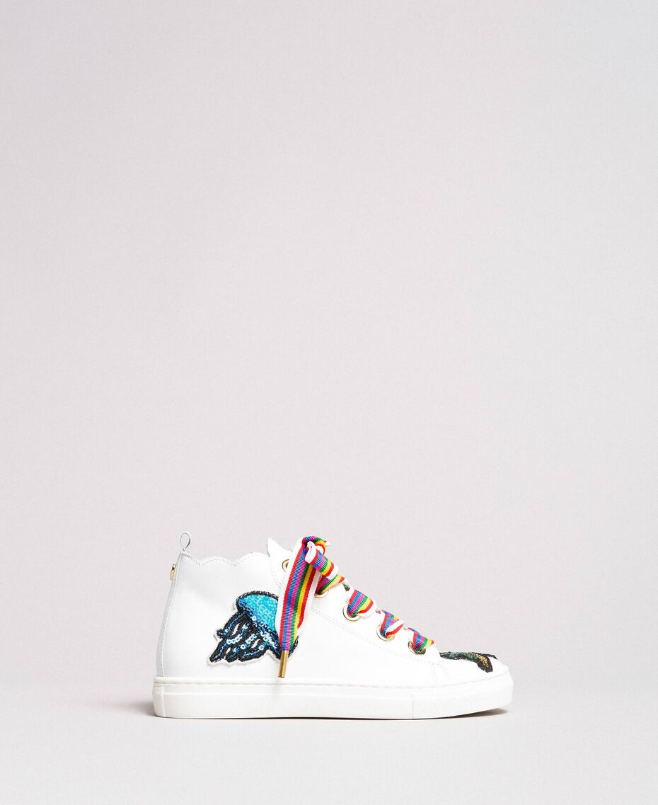 Leather sneakers with patch White Child 191GCJ146-03