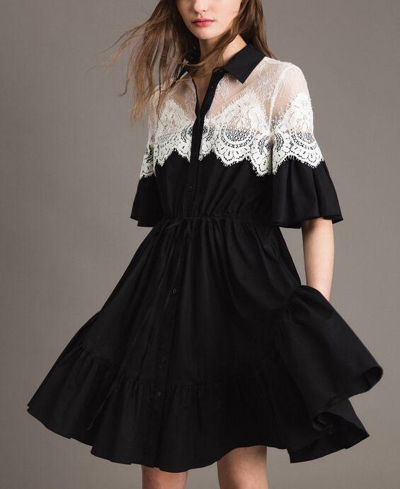 Poplin shirt dress with lace inlays