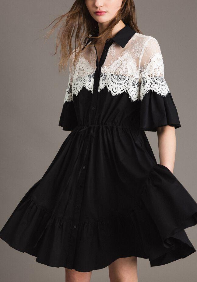 Popeline-Hemd-Kleid mit Spitzeneinlagen