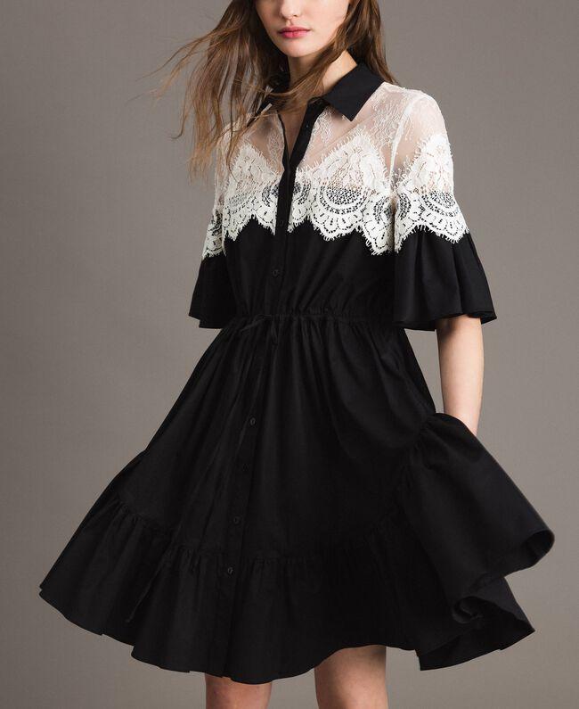 5508988f614 Robe chemise en popeline avec incrustations de dentelle Noir Femme  191TT2121-01