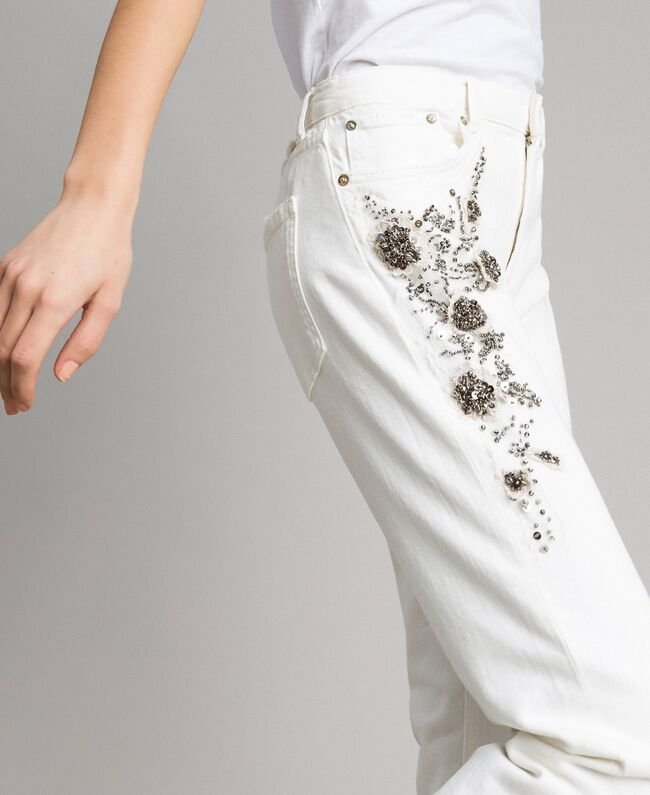 Pantalon en drill avec broderie Blanc Femme 191TT2520-01