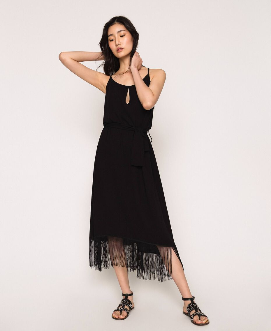 Long dress with fringes Black Woman 201LM2BEE-01