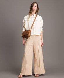"Pantaloni a palazzo in popeline Beige ""Marzapane"" Donna 191TT223C-0T"