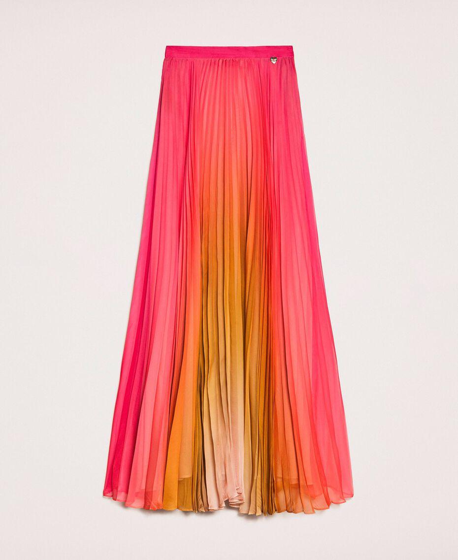 "Pleated chiffon long skirt ""Sugar Coral"" Red / Golden Yellow Fadeout Print Woman 201TT2520-0S"