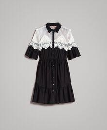 Popeline-Hemd-Kleid mit Spitzeneinlagen Schwarz Frau 191TT2121-0S