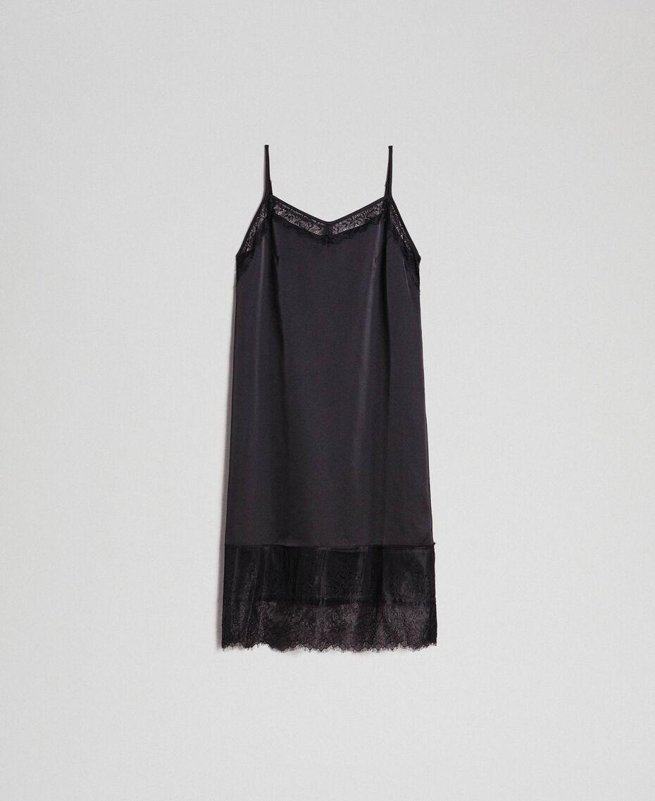 Unterkleid aus Satin mit Spitze Schwarz Frau 192MP2132-0S
