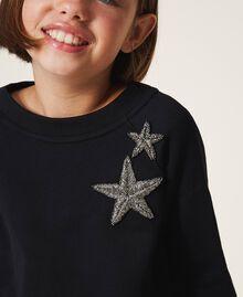 Sweatshirt mit Sternstickerei Schwarz Kind 202GJ261B-04