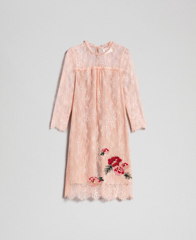"Valenciennes lace dress with floral embroidery ""Pale Pink"" Woman 192TP2587-0S"