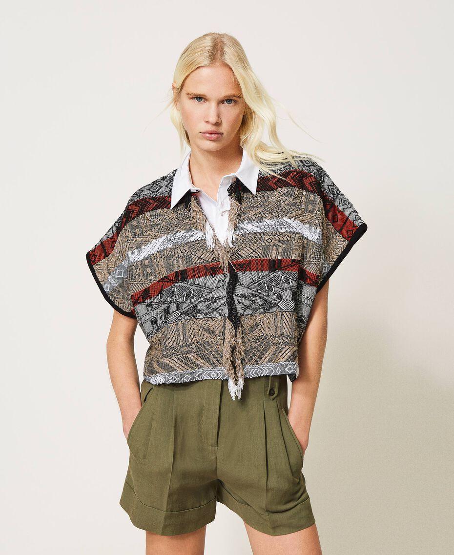 Jacquard cardigan with fringes Multicolour Jacquard Textured Woman 211TT3270-01