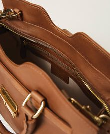 Leather shopper with buckle Leather Brown Woman 202TB7124-05