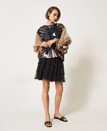 T-shirt avec imprimé et manches en tulle Bicolore Noir / Marron «Biscuit» Imprimé Lune Femme 211MT2491-02