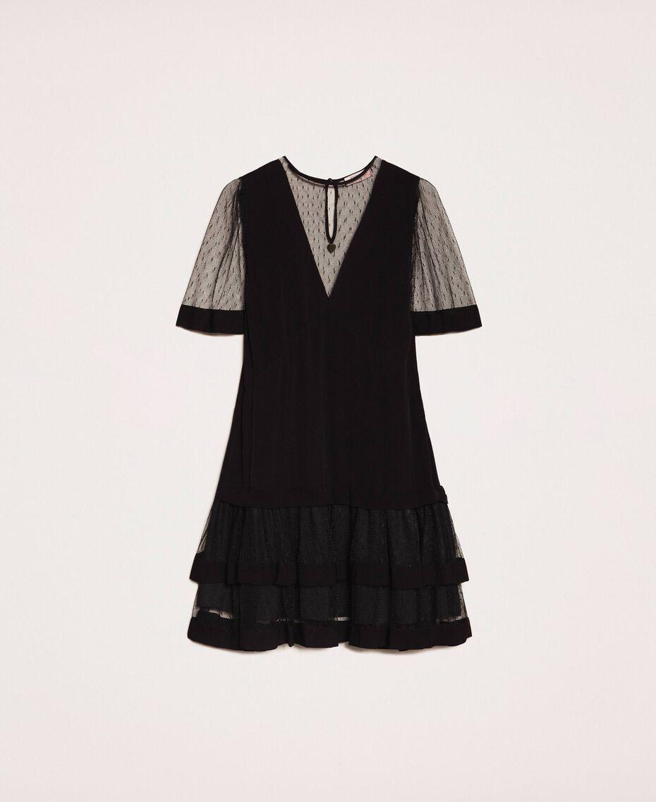 Crêpe de Chine dress with plumetis tulle Black Woman 201TP2371-0S