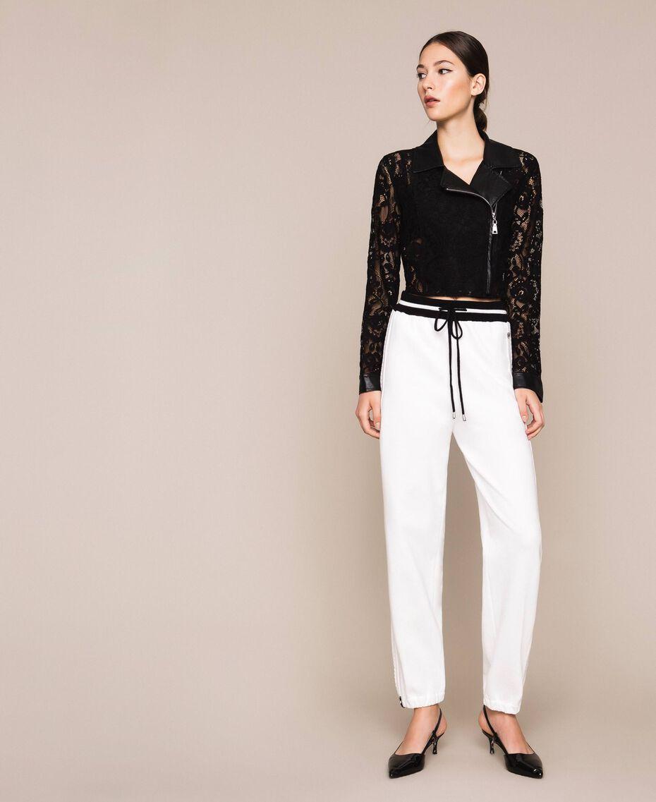 Байкерская куртка из кружева макраме Черный женщина 201MP2231-0T