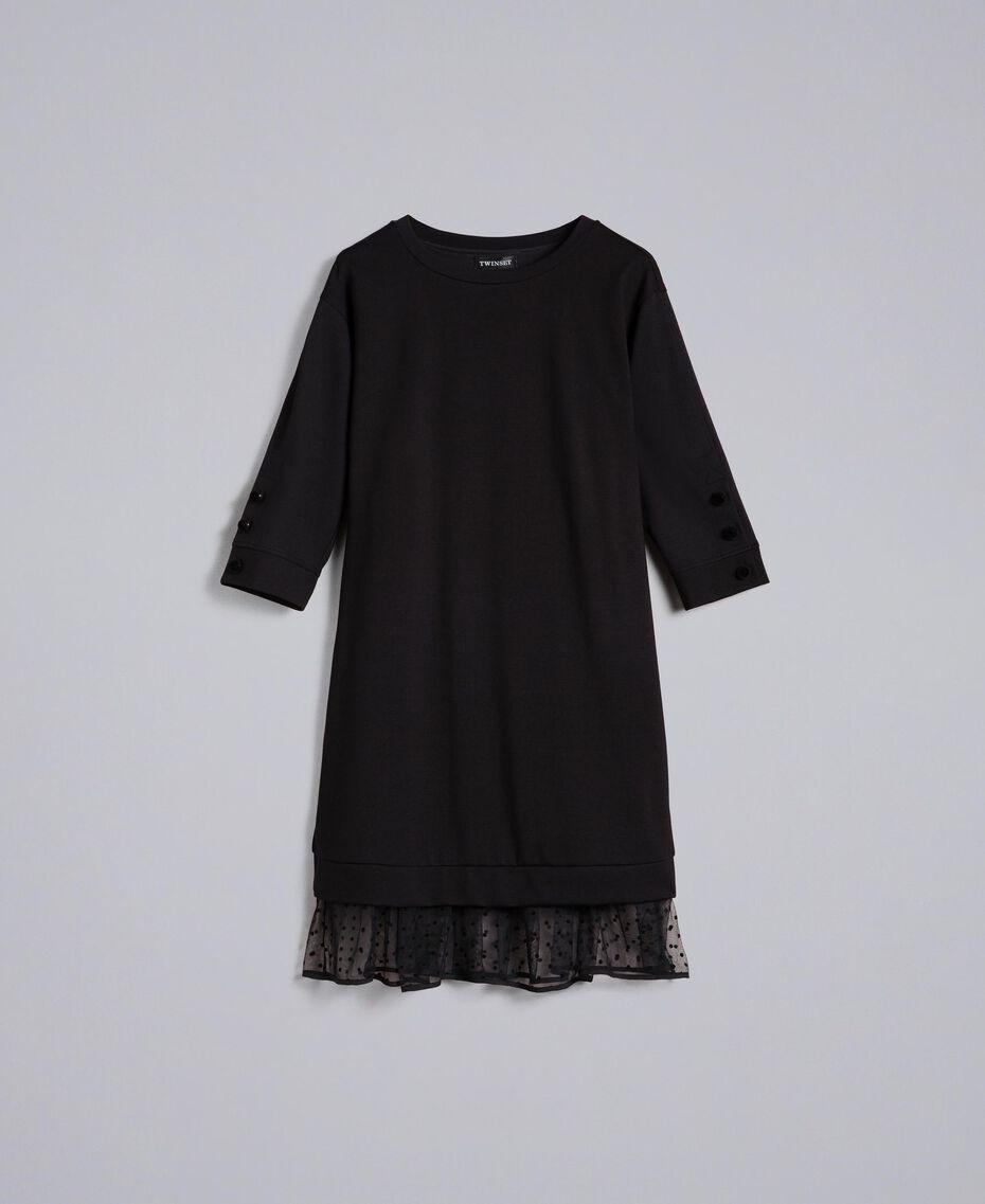 Kleid aus Interlock-Jersey mit Flockknöpfen Schwarz Frau PA82BP-0S