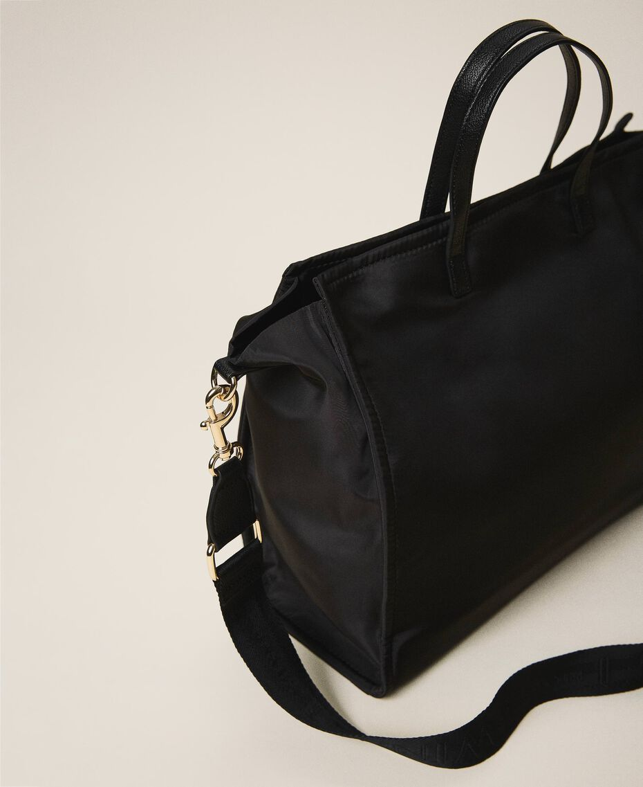 Satin Twinset Bag shopper with shoulder strap Black Woman 202TB7200-03