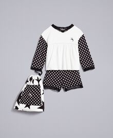 Polka dot jersey pyjamas Bicolour Black / Black Polka Dot Print Child GA828D-01