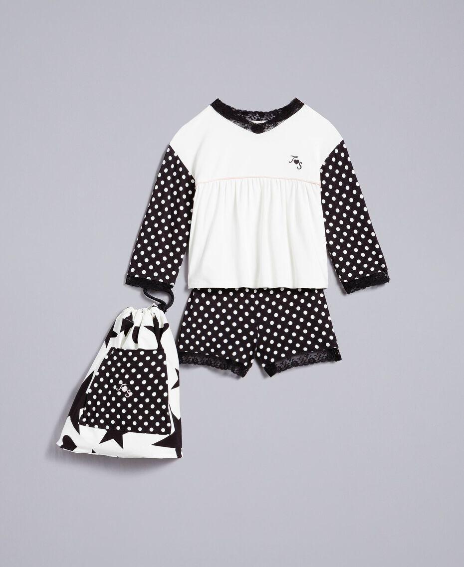 Pyjama en jersey à pois Bicolore Noir / Imprimé Pois Noir Enfant GA828D-01