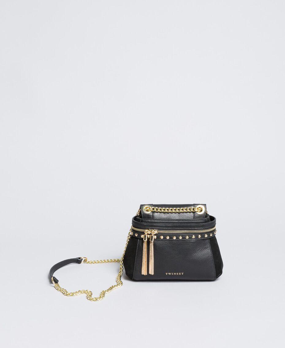 Petit sac Cécile Deux en cuir et cuir velours Noir Femme OA8TC2-02