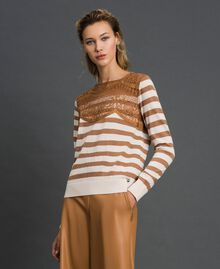 "Wool blend jumper with stripes and lace Creamy White / ""Sequoia"" Beige Woman 192ST3010-02"