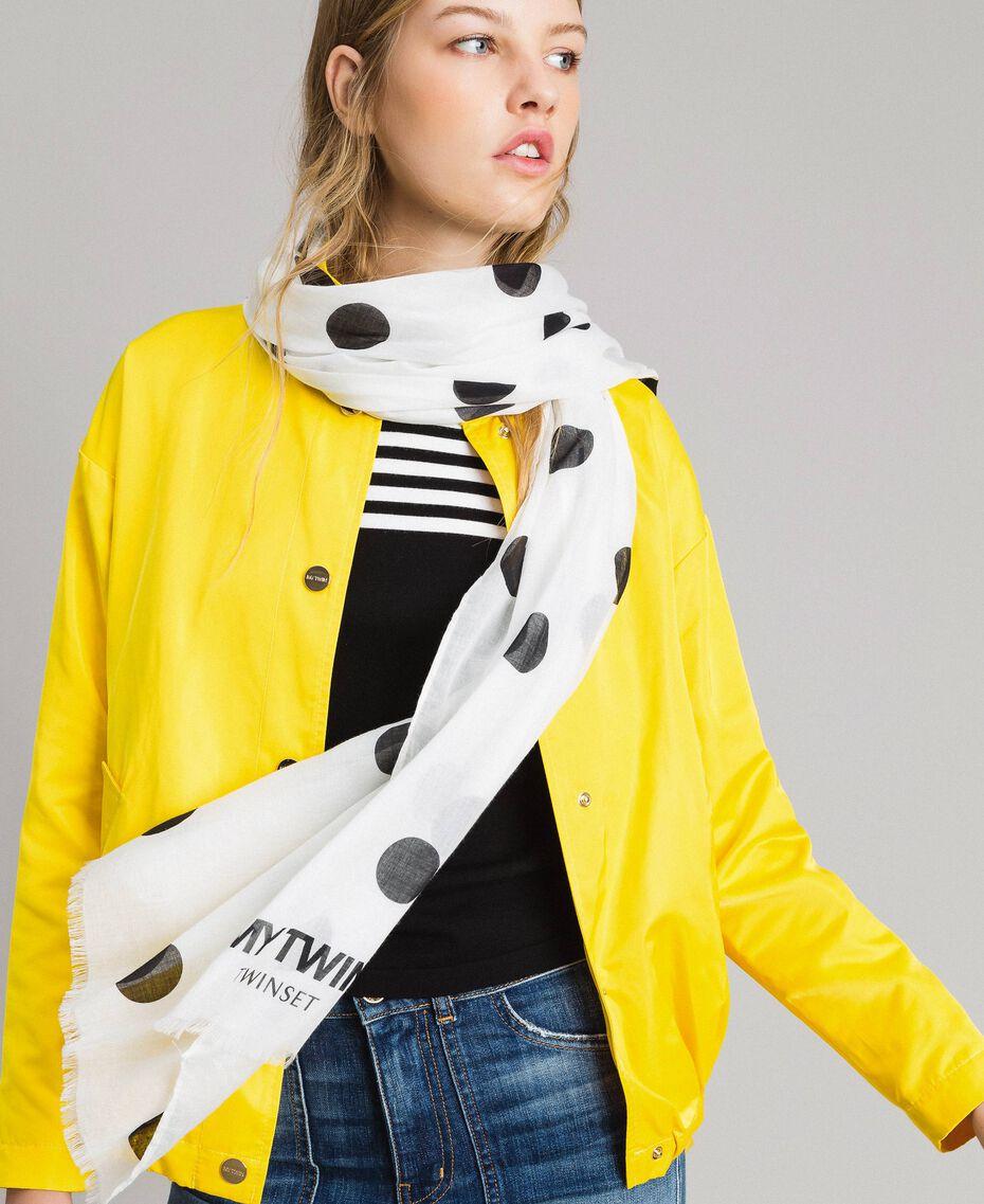 Cotton scarf with polka dot print Black / White Polka Dot Print Woman 191MA4306-0S