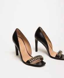 Sandalette mit Stilettoabsatz und Chatons Schwarz Frau 201TCP090-01