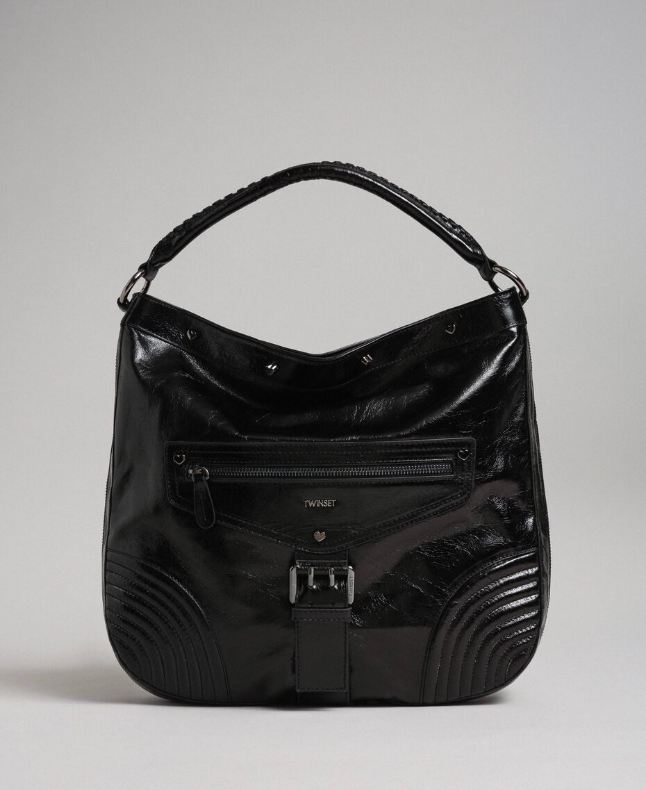 Crackled effect leather hobo bag with studs Black Woman 192TA7236-02